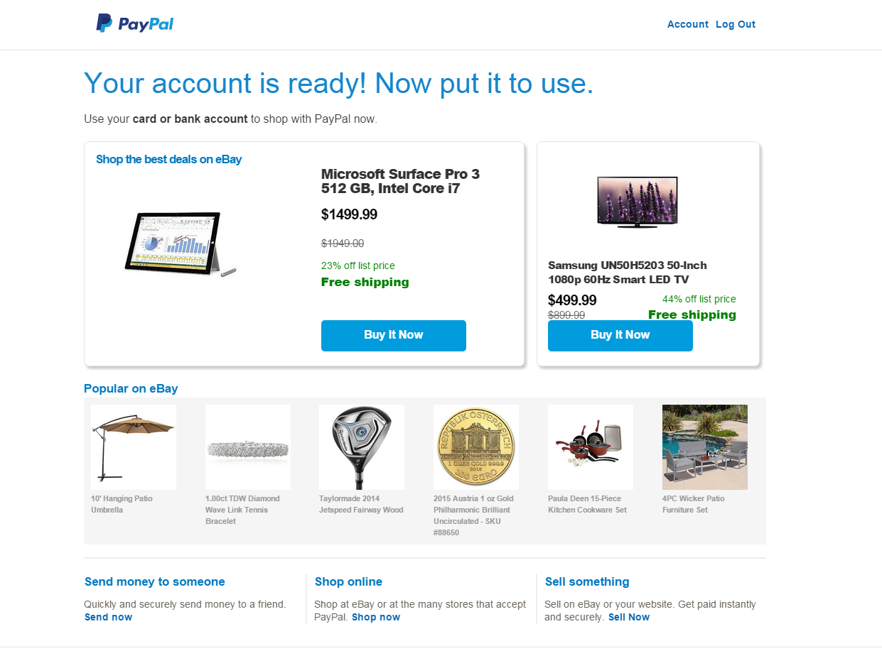 Creating a PayPal account